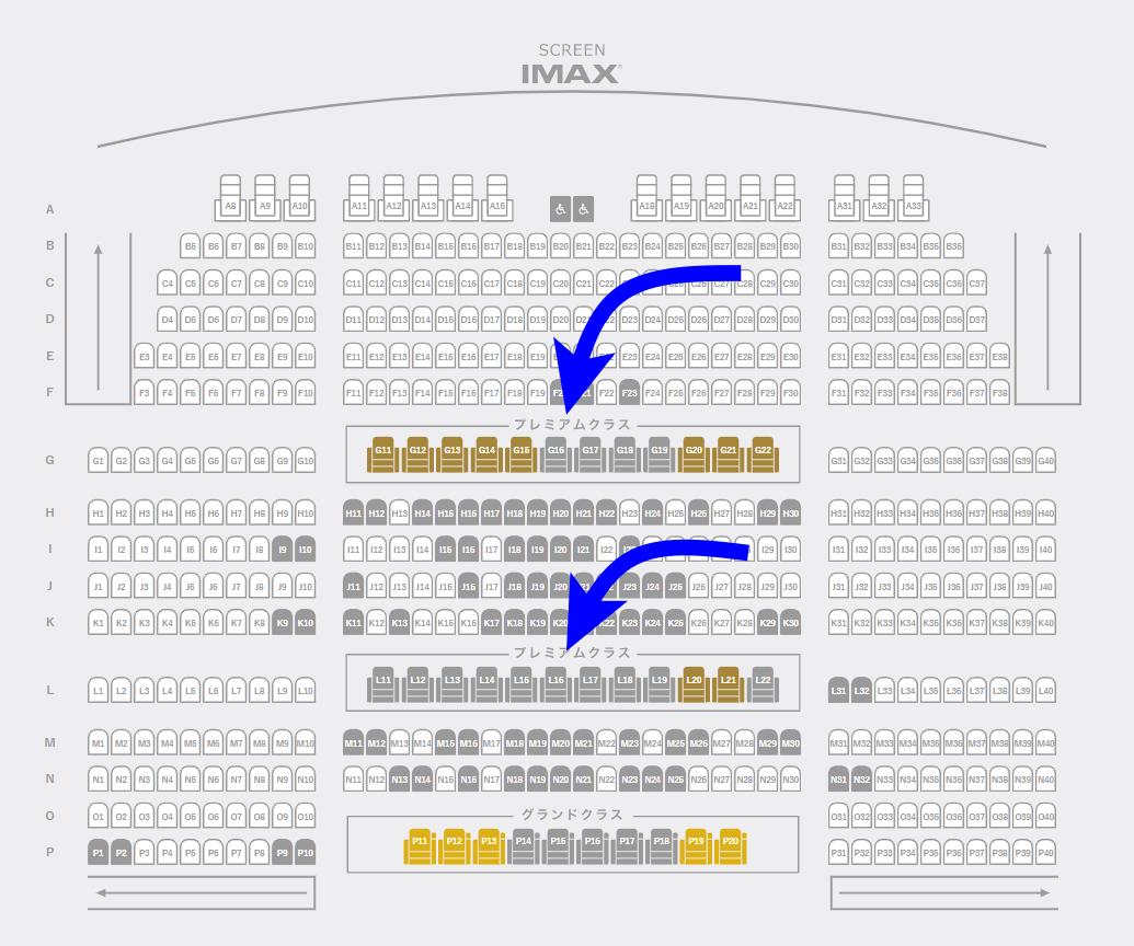 プレミアムクラス席の配置